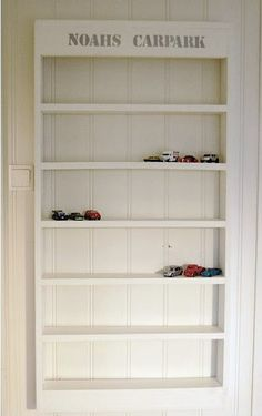 """DIY: """"Carpark"""" shelves for storing toy cars. this would be perfect for my son."""