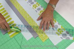 Are you notorious for saving fabric scraps? Use those scraps to make variegated bias tape, trim, or binding by choosing three or more compatible coordinating fabrics. Sewing the strips together in ...