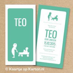 Geboortekaartje Teo   Kaartje op Karton   Letterpress stijl en zeefdruk geboortekaartjes