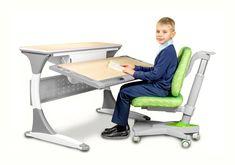 Masa de birou Palermo Ergodesk, White / Gray, L120xl84h55 cm #homedecor #interiordesign #inspiration #desk #kids #bedroom #kidsroom Palermo, Office Table, Table Dimensions, Kidsroom, Back To School, Desk, Gray, Interior Design, Kids Bedroom