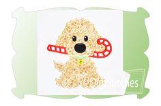 Dog With Candy Cane Boy Applique