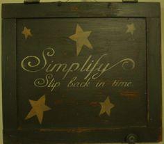 Hand crafted old wood cupboard door sign.
