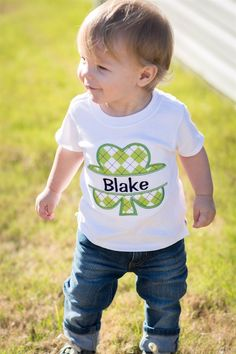 These ADORABLE St. Patrick's embroidered t-shirts are a must have for your little cutie!  **Girls ruffle shirts from sizes 12 months - 5/6.   Styles vary on stock {Two styles available}. ***Boy Shamrock Tie shirts do not have personalization.All items are personalized and monogrammed as entered at checkout.