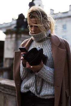 Camille - Grey Knit + Camel Coat , Fashion Week
