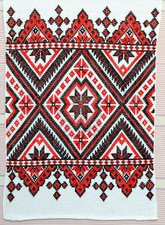 embroidered good by cross-stitch pattern. ukrainian ethnic ornament Stock Photo
