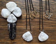 White druzy pendant necklace, black and white jewelry