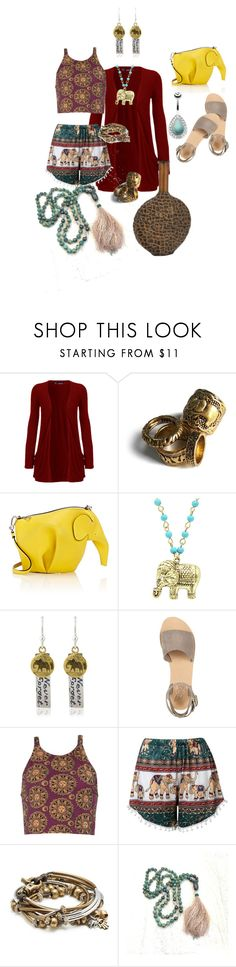 """""""Tribal Elephants"""" by glamourgrammy ❤ liked on Polyvore featuring WearAll, Loewe, Sparkling Sage, Charlotte Lowe, Ancient Greek Sandals and Lizzy James"""