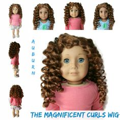 Our Magnificent Curls wig in Auburn. Can have a side or center part.