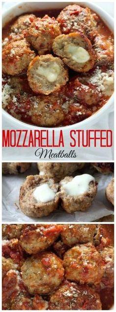 30-Minute Mozzarella Stuffed Turkey Meatballs with Homemade Marinara Sauce - quick, healthy, and SO delicious! by manuela