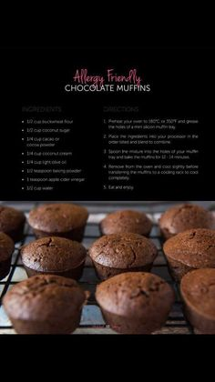 Chocolate Muffins, Buckwheat, Allergies, Cocoa, Oven, Tray, Snacks, Breakfast, Thermomix