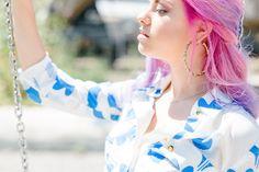 Long shirt dress by @doritomcsanyi  modelled by #NivesArrigoni #pinkhair #retrofashion #fashion #shirtdress