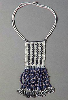South Africa | Necklace from the Nguni (Thembu, Xhosa) people. | Glass beads, cotton and wool