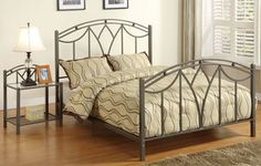 Gray-Black Metal Art Deco Low Profile Queen Size Bed w/Night Stand