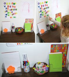 Cut out or get letter stickers and set up an area for child to play with letters.