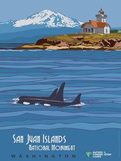 San Juan Islands, Washington, Vintage Travel Poster