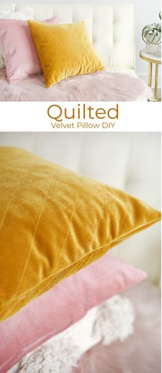 Quilted velvet pillow DIY home diy Quilted Velvet Pillows Tutorial - A Beautiful Mess Velvet Quilt, Velvet Pillows, Diy Interior, Diy Home Accessories, Diy Kleidung, Pillow Tutorial, Baby Pillows, Burlap Pillows, Throw Pillows
