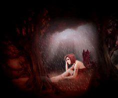 Animated Gothic Graphics | Animated GIFs » Fantasy » Gothic Fee in Rain