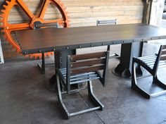 I Beam table and Zen chairs, in dark walnut, by Vintage Industrial in Phoenix...