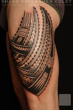 American Samoa tattoo designs on the leg | Polynesian Thigh Tatau/Tattoo
