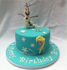 """Frozen theme~ Chocolate cake with hand sculpted marshmallow fondant """"Olaf!"""""""