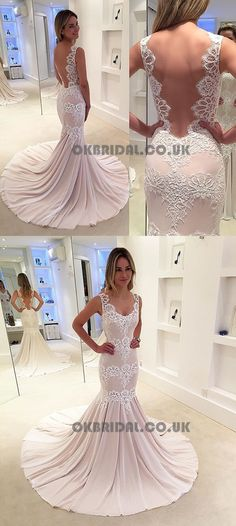 Elegant pink mermaid dresses, unique backless evening gowns with appliques, simple sweep train party dresses Luulla Dresses, Ivory Prom Dresses, Simple Homecoming Dresses, Prom Dresses 2018, Simple Dresses, Bridal Dresses, Beautiful Dresses, Party Dresses, Amazing Dresses