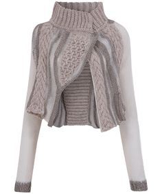 Beige Chunky Knit Cropped Cardigan, Crea Concept.