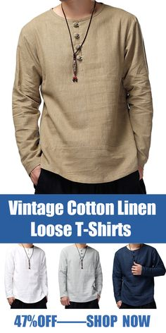 Vintage Cotton Linen Long Sleeve Loose T-Shirts - Men's style, accessories, mens fashion trends 2020 Indian Men Fashion, Mens Fashion Suits, Casual Shirts For Men, Men Casual, Casual Styles, Gents Kurta, Mens Kurta Designs, Designer Suits For Men, T Shirt Vest