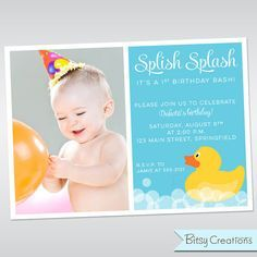Rubber Duckie Invitation Printable Rubber Duck by BitsyCreations