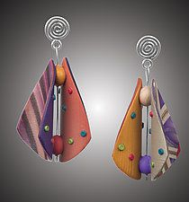 Wings Earrings Teardrop in Periwinkle, Burnt Orange, and Beige by Arden Bardol (Polymer Clay Earrings)