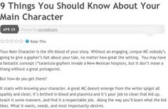 9 Things You Should Know About Your Main Character