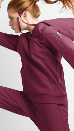 Made for active, on-the-go medical professionals, our newest exclusive scrub collection, Movement by Butter-Soft, features 4-way-stretch, polyester/rayon/spandex blend with an anti-wrinkle treatment and a micro-peached finish for optimal softness. The collection's breathable fabric with air-flow and moisture-wicking technology supports you during your shifts, while still providing fade-resistant, accentuated, flattering scrubs. Shop the collection exclusively at Uniformadvantage.com today! Red Scrubs, Technology Support, Scrub Jackets, Medical Uniforms, Medical Scrubs, Anti Wrinkle, Stay Warm, Flow, Nursing