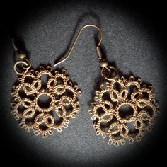 Decoromana Tatted Earrings In An Old Gold