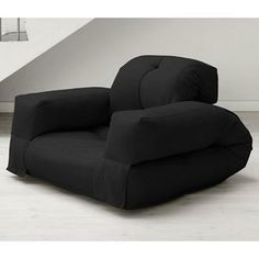 Hippo Convertible Chair with Arms in Black - Fresh Futon
