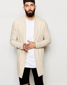 """Cardigan by ASOS Soft-touch jersey Shawl collar Open front Super longline cut Cut longer than standard length Machine wash 100% Cotton Our model wears a size Medium and is 181cm/6'11.5"""" tall"""