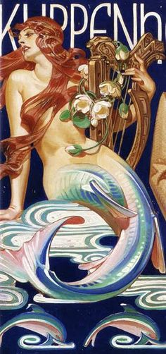 Kuppenheimer 'Mermaid' ad (detail) by JC Leyendecker, 1951 | Cigarette case