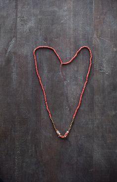 Mixed Media Boho Necklace /  Orange Necklace / Gold by BlueBirdLab, $36.00