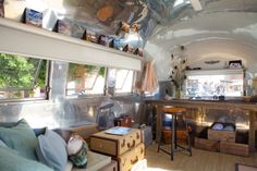 1964 Bambi Airstream. I love the table/desk at the end