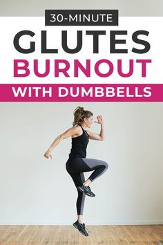 Burnout the glutes with this BUTT WORKOUT for women! We're sculpting the booty from all angles -- all you need is a set of dumbbells! #bootyworkout #glutes #gluteworkout #homeworkout Leg And Glute Workout, Kickboxing Workout, Belly Fat Workout, Dumbbell Workout, Interval Training Workouts, Abs Workout Routines, Leg Workouts, Fitness Tips For Women, Glutes