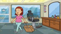 A Female Tourist Tourist Walks While Pulling Her Luggage At Inside A Barber Shop:  Cartoon image of a woman with medium length red hair wearing a pink shirt paired with light blue leggings and gray shoes strides in pleasure as she pulls her beige trolley luggage with carry on handles on the top and right side of the bag. Set in a barber shop with red white and blue striped lamp black and gray barbers chair brown desk with cabinets hair products mirror teal checkered flooring glass window and…