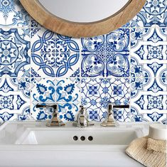 Tile Stickers Vinyl Decal for backsplash Bath Kitchen Floor Waterproof Removable: Mexican Talavera Tile Decals, Wall Tiles, Vinyl Decals, Bathroom Tile Stickers, Kitchen Stickers, Bathroom Wall, Linoleum Flooring, Kitchen Flooring, Kitchen Backsplash