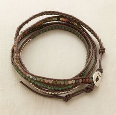 """PARTY MIX 5 WRAP BRACELET--Wrist wrapping, Chan Luu's fancy jasper, green aventurine and pyrite nuggets and silver beads edged with brown leather, fastened with a sterling silver button. Approx. 32""""L."""