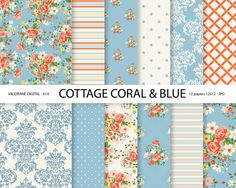 Shabby Chic Digital paper pack in coral and blue, digital backgrounds, Cottage Papers, 12 jpg files 12x12 - INSTANT DOWNLOAD Pack 614