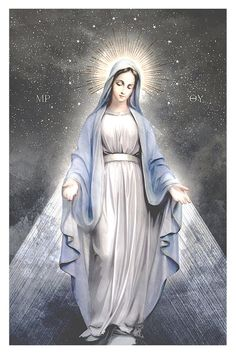 Museum-quality poster with a print of The Blessed Virgin Mary printed on thick and durable matte Blessed Mother Mary, Divine Mother, Blessed Virgin Mary, Mary Jesus Mother, Catholic Art, Catholic Saints, Religious Art, Prayers To Mary, Queen Of Heaven