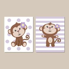 Baby Girl Monkey Theme Nursery Girl Nursery by LovelyFaceDesigns