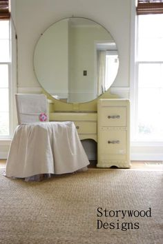 Storywood Designs Waterfall Vanity with chair- Maison Blanche Baguette