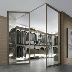 Elegant Bedroom With Walk In Closet Perfect Design. Modern Bedroom Walk In Closet Design with Glass Folding Door and Brown Laminate Floating Cabinet and Brown Shelves and Hanging Closet Walk In Closet Small, Walk In Closet Design, Wardrobe Design, Closet Designs, Walking Closet, Wardrobe Closet, Closet Bedroom, Elfa Closet, Master Bedroom