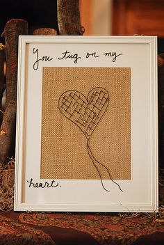 love this! framed burlap and use dry erase markers so you can change the writing...genius!
