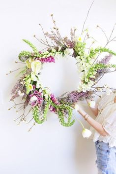 What a gorgeous floral wreath! Spring wreath by moon canyon Deco Floral, Floral Design, Planting Flowers, Floral Arrangements, Beautiful Flowers, Beautiful Pictures, Garland, Wedding Flowers, Floral Wreath
