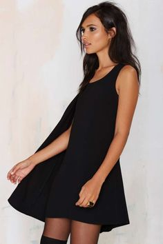 Nasty Gal Fly Girl Asymmetrical Cape Dress - LBD | Going Out | Shift | Dresses