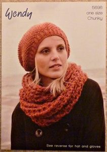 Ladies Hat and Snood Chunky - knitting pattern.